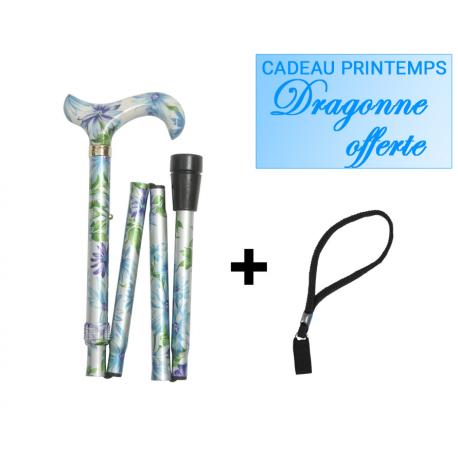canne-pliante-fleur-bleue-dragonne-offerte