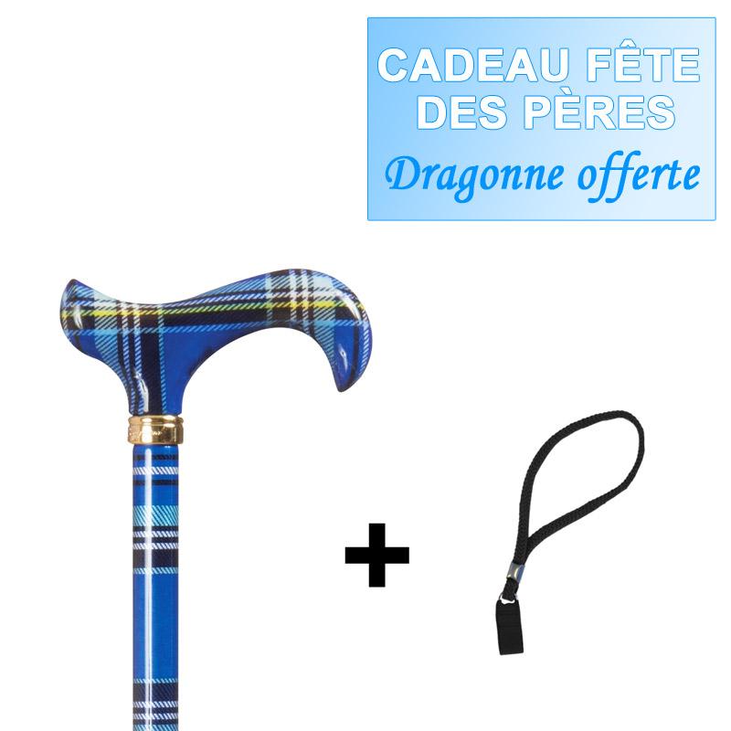 Canne-réglable-Tartan-bleu-+-dragonne-offerte