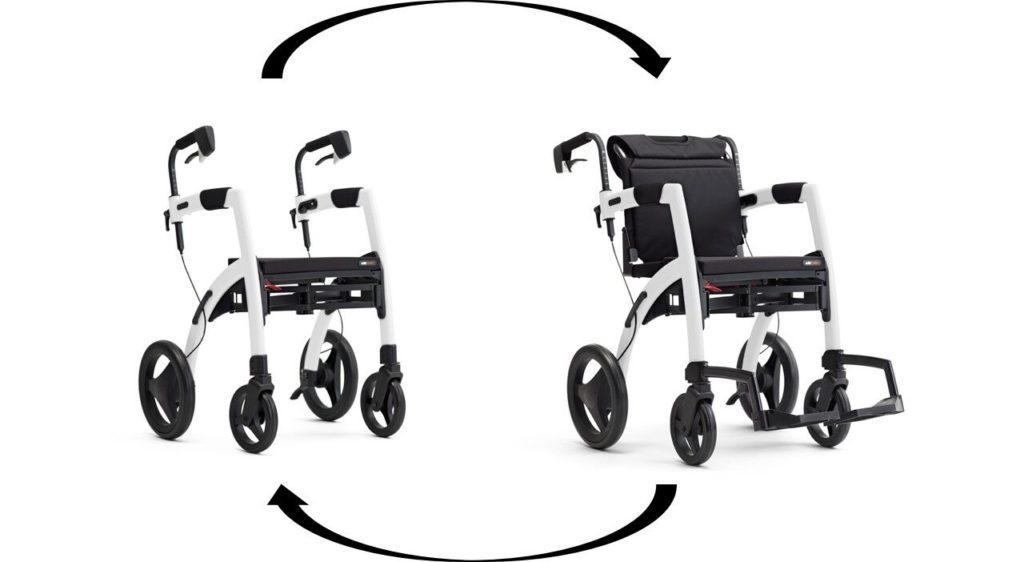 Déambulateur et fauteuil roulant 2 en 1