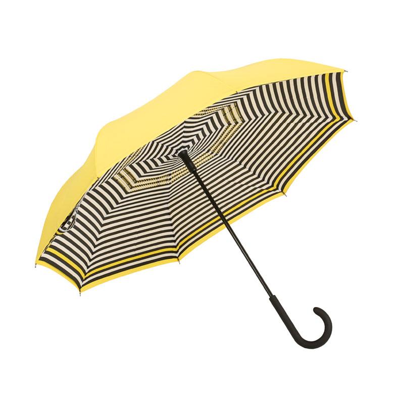 Parapluie de couleur gaie à pliage inversé, jaune rayé noir
