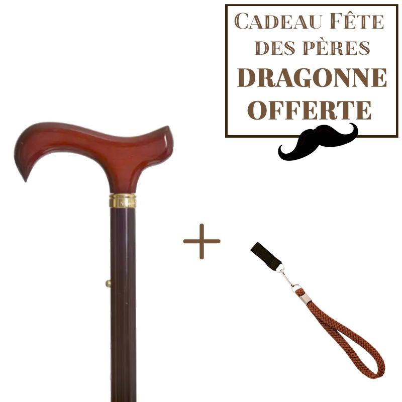 Canne pliante Aliénor + dragonne en étoffe marron offerte